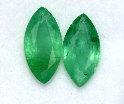 Certified Natural Emerald Marquise Cut Pair 10x5 mm 1.69 Cts Green Gemstones