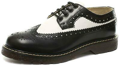 Grinders Bertrum Black White Men's Womens American Brogue Lace up Leather Shoes