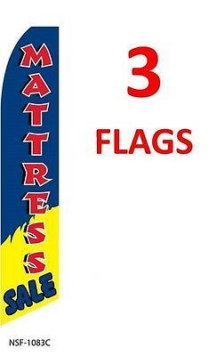 3 (three) MATTRESS SALE blue/red 11.5' SWOOPER #3 FEATHER FLAGS BANNERS