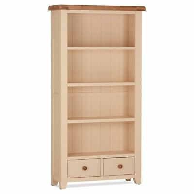 Julia Cream & Oak Shelving Display Bookcase With Drawers - Narrow or Wide