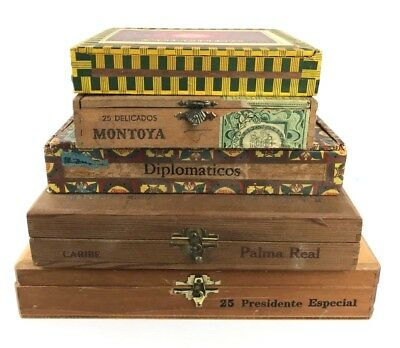 LOT of 5 Vintage 1060s 1970s Wood Cigar Boxes Mid Century Industrial Deco