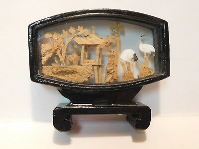 Vintage/Antique Chinese China Small Black Lacquer Carved Cork Diorama