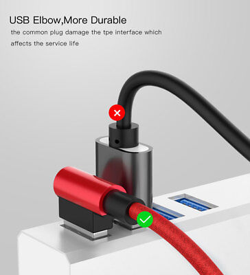 90° Angle Android Type C 2.4A MAX Micro USB Fast Data Charger Braided Cable