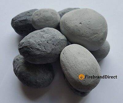 Mixed Size Grey Pebbles For Gas Fire/Living Flame Fire Made In UK (10/15/20/25)