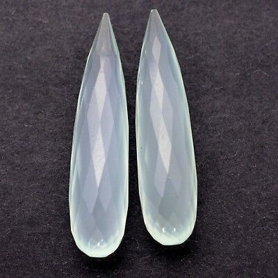 21.25CTS Natural Chalcedony Briolette Faceted Cut Pair 30x7 mm Amazing Loose Gem