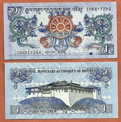 Bhutan, 2006, UNC, 1 Ngultrum, Banknote, Paper Money Bill, P-27a