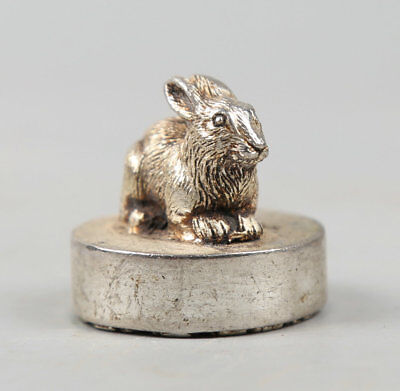 30MM Chinese Miao Silver Twelve Zodiac Animal Lovable Rabbit Seal Signet Statue