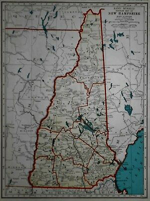 L@@K! Vintage 1941 World Atlas Map New Hampshire And New Jersey World War WWII