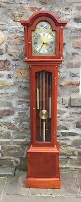 Tempus & Fugit Grandfather Clock, Franz Hermle, Three Weight Driven, Walnut
