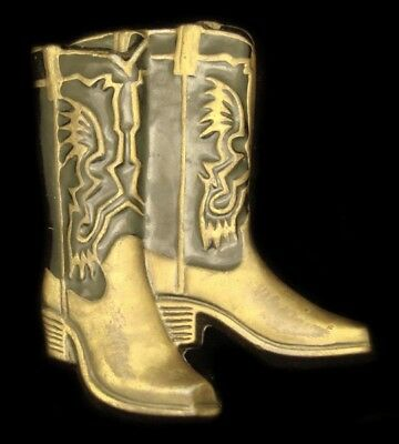 LC12117 *NOS* VINTAGE 1970s CUT-OUT ***PAIR OF COWBOY BOOTS*** WESTERN BUCKLE