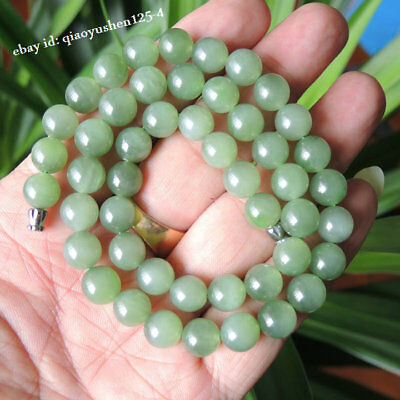 DIY Chinese Hetian Jasper Jade Hand Grinding Round Beads Pretty Bracelet Bangle