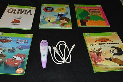 Leap Frog Tag Reader 5 Books Carrying Case Purple Pen USB Olivia Cars