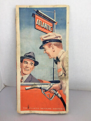 Vintage Paper Road Map The Atlantic Refining Co. Eastern US Rand McNally