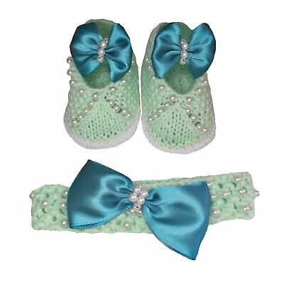 Hand knitted crocheted Baby girls shoes and headband set pearl bow 0-3 months