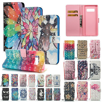 3D Painted Leather Wallet Card Magnetic Flip Stand Case Cover For Samsung S9/S9+