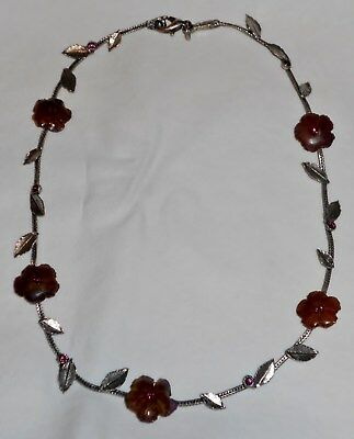 """Vintage 15"""" SAOYA Silver Tone Necklace W Amber Color Flowers Amethyst Cut Class"""