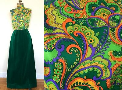 Vintage 60s 70s Psych/Hippie/Boho/Witchy Neon Paisley Floral Velvet Maxi Green