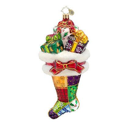 RADKO - PRESENTLY PATCHED 2014 Stocking Glass Christmas Ornament 1017302