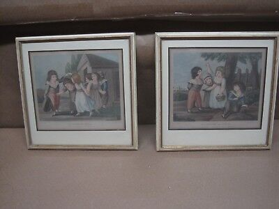 Antique Early 1800's Pair Of French Engravings Of Children Hand Colored & Framed