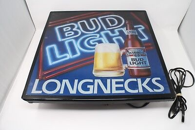 Vintage Anheuser Bush Bud Light Longnecks Lighted Plastic Beer Sign 18X18
