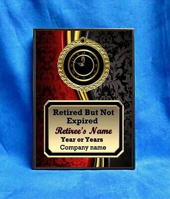 Retirement Retired Not Expired Custom Personalized Award Plaque Gift Red Black