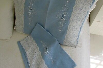Antique French Linen Pillowcases Lace and Fine Embroidery Wedgwood Blue Pair!