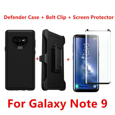 For Samsung Galaxy Note 9 Case W/Screen Clip Holster Fit Otterbox Defender BLACK