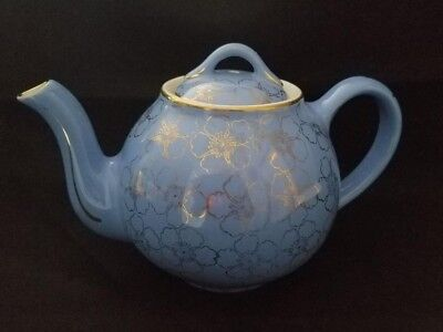 Vintage HALL #049 French Blue Floral 6 Cup Teapot