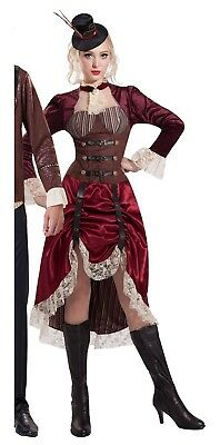 Steampunk Victorian Adjustable Skirt Costume Hat Saloon Madame Time Travel Wells