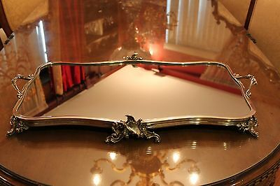 Large Antique French Silver Plated Mirror Plateau Centerpiece Table Tray