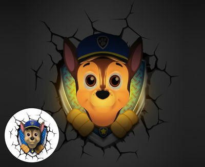 3D Paw Patrol Chase Deco Light Wall Night LED  Lamp Gift Kids Blue  - Genuine