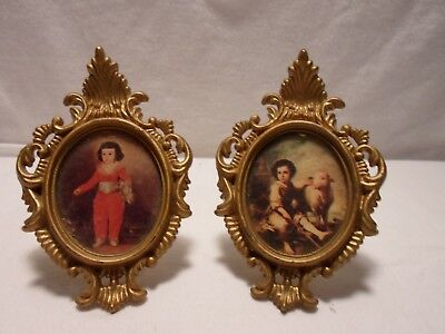 Pair of Miniature Pictures Little Boy and Little Boy with Sheep made in Hong Kon