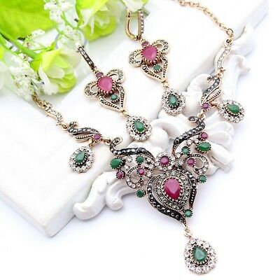 Vintage Style Turkish Jewelry Set Necklace Earrings Antique Gold Crystals