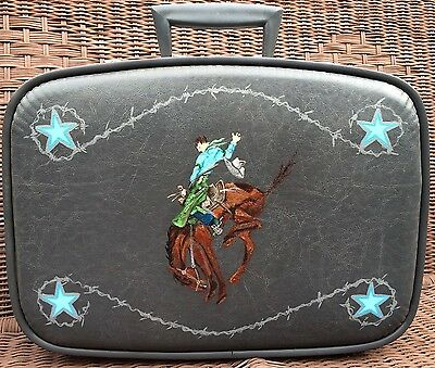 Artist Signed Hand Painted Vintage Wild West Cowboy Bronc Blue Suitcase