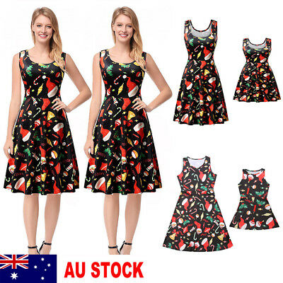 AU Xmas Santa Mother And Daughter Skater Dress Family Matching Dresses Outfits