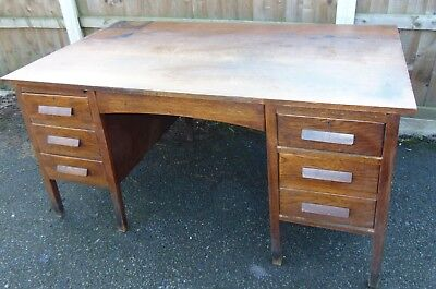 vintage solid oak art deco desk extra large