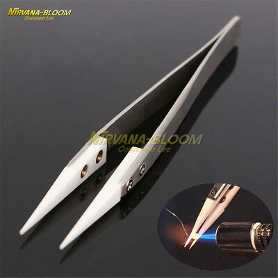 Ceramic Tipped Stainless Resistant Tweezers Steel Tweezers Fine Tip Pointed Heat
