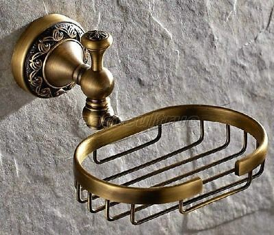 Carved Antique Brass Wall Mounted Bathroom Accessories Soap Dish Holder eba493