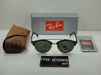 2db73fee14f Ray-Ban Clubround Double Bridge Sunglasses Rb4346 901 Black green Lens 51Mm