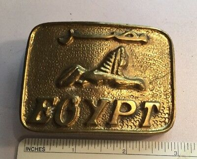 "Vintage Solid Brass Belt Buckle Egyptian EGYPT 3 X 2.5"" Sphinx Logo Embossed"