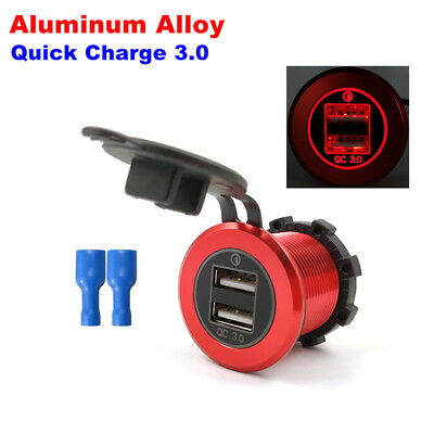 1X Quick Charge QC 3.0 Motorcycle Dual USB Charger Socket Power Adapter Plug Red