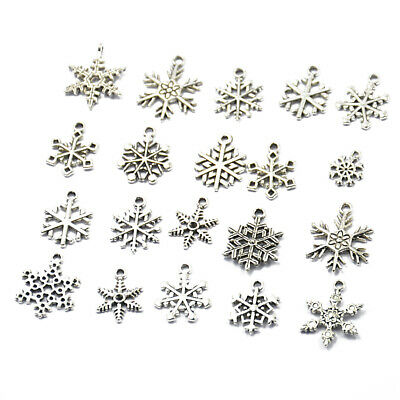 20pcs Silver Assorted Xmas Snowflake Charms Pendants Jewelry Making Findings