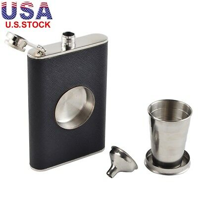 8oz Pocket Stainless Steel Leather Wrapped Liquor Hip Flask Funnel Cup Gift