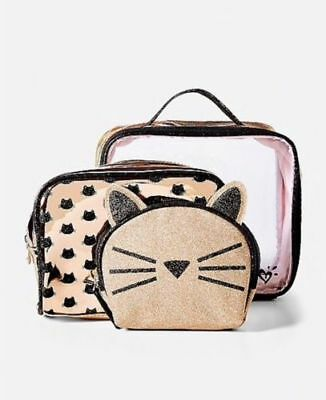 Justice Girl's Glitter Cat 3 Pc Travel Bag Set Cosmetic Accessories Cases NWT