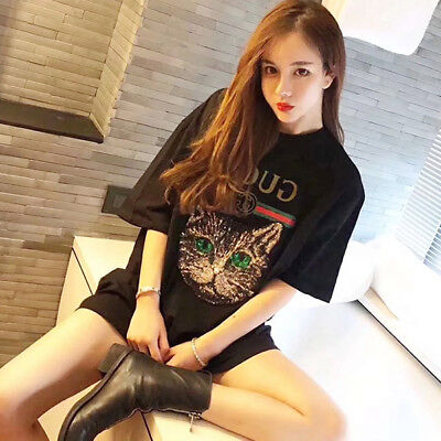 18 Summer Occident Fashion Women Sequin Cat Head Embroidery Letter Print T-shirt