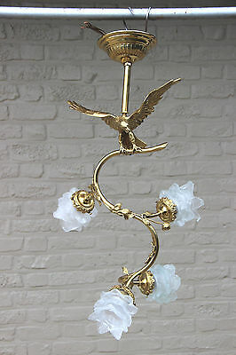 RARE french empire Eagle Brass Chandelier pendant hall 1950 4 tulip glass shades