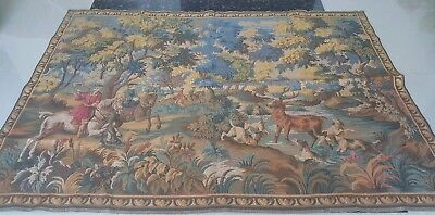 "Antique 19c Aubusson Style French Tapestry 43""x60(cm109x152 Beautiful real view"