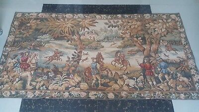 "Antique 19c Aubusson Style French Tapestry 36""x70 (cm91x178 Beautiful real view"