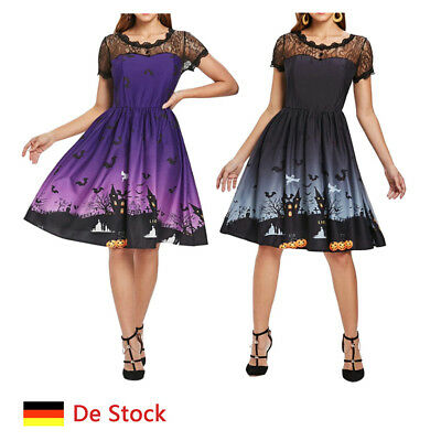 DE Stock Halloween Kostüme für Damen A Line Kleid Kurzarm Party Swing Kleid