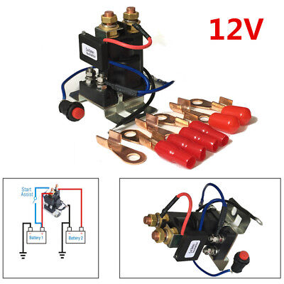 Car 12V 200A 4 Terminal Dual Battery Isolator Emergency Switch Controller Relay